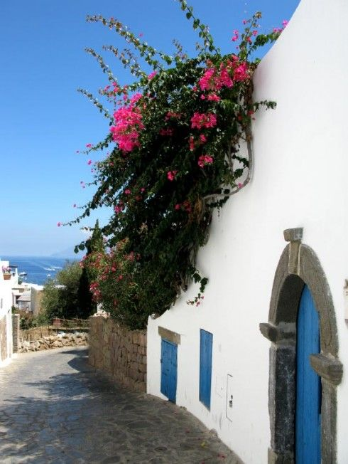 Street in Panarea, small island near to Sicily.