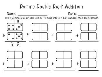 Double Digit Domino Math Center | Math addition, Second ...