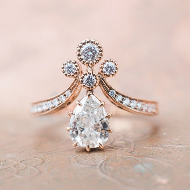 Vintage-inspired rose gold Tiara engagement ring with a pear shaped diamond // $6,750 // photography by Whiskers & Willow