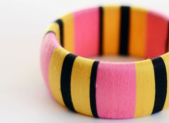Pink Yellow Black Chunky Thread Wrapped by theglossyqueen on Etsy.