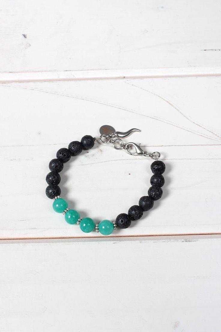 Bracciale unisex Yesring9 con perle nere grezze e verde acqua