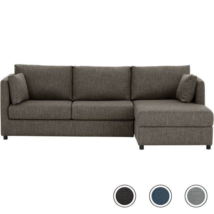 Milner Right Corner Storage Sofa Bed with Foam Mattress, Chalk Grey from Made.com. With its slim arms and legs our Milner corner sofa has a timeless..