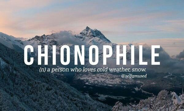 Chionophile - person who loves cold weather; snow