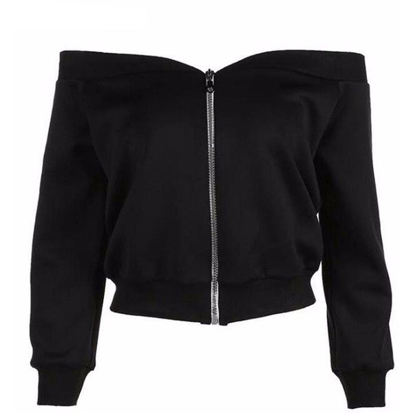 Off The Shoulder Zip Up Cropped Sweatshirt Shop Elettra (£44) ❤ liked on Polyvore featuring tops, hoodies, sweatshirts, crop top, zip up top, off-shoulder crop tops, zip up crop top and cropped sweatshirts