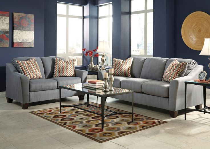 Furniture Stores In Miami 1 Discount Ashley Home Hannin Lagoon Sofa Loveseat Living RoomLiving