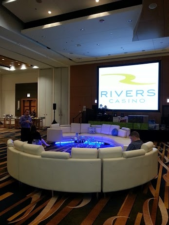 Players lounge area between Poker tournament and Casino games at Swissotel Chicago 5/04/13