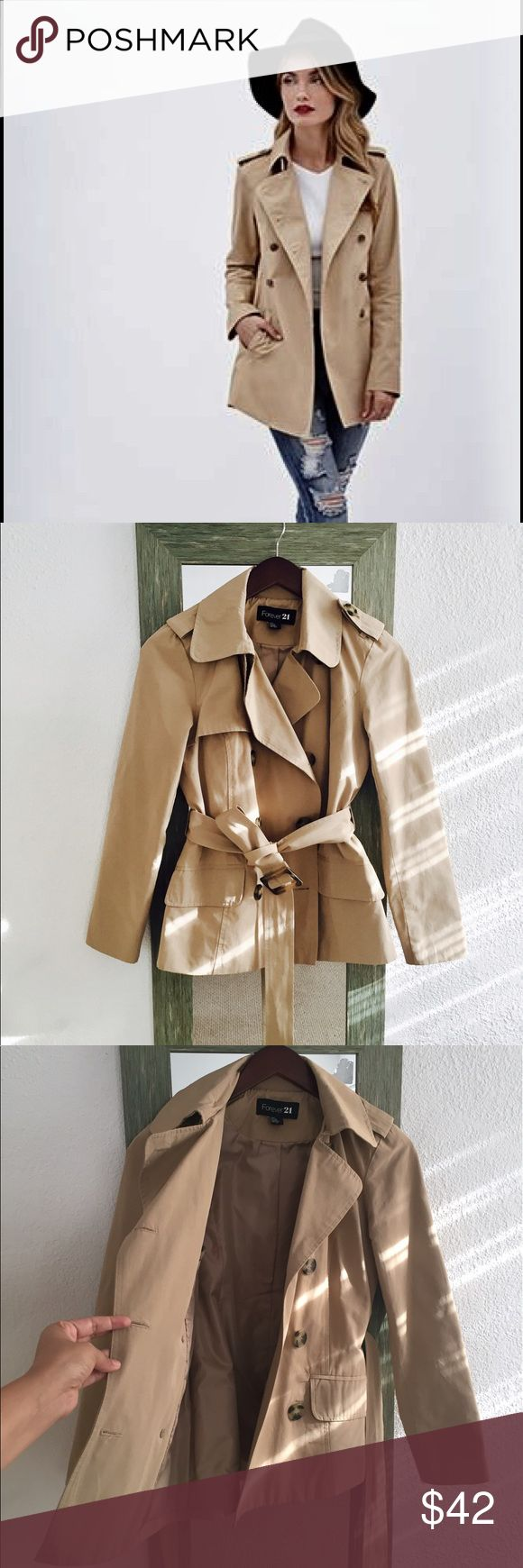 Classic camel short trench coat Size Small , lined, camel trench coat, never worn, beautiful and classy perfect for every outfit! Forever 21 Jackets & Coats Trench Coats
