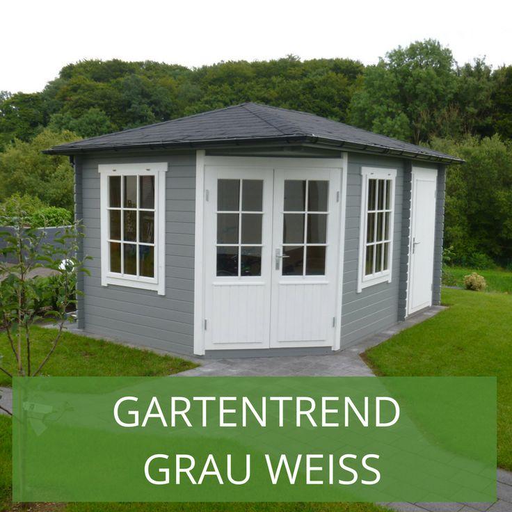 Gartenhaus grauweiß moderner Gartentrend mit Stil