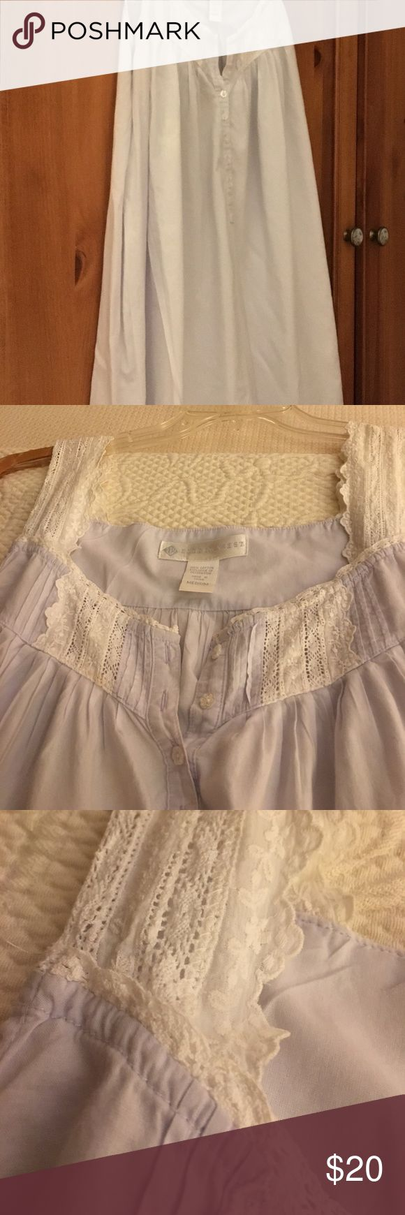 Eileen West long cotton nightgown size L Very pale blue with lace trim at neckline and shoulder straps. Eileen West Intimates & Sleepwear Chemises & Slips