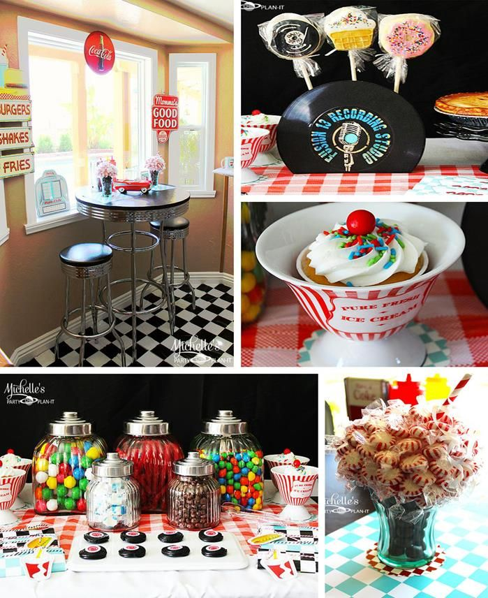 Cute 1950's diner retro themed birthday party with tons of ideas! Sock hop party ideas & more. Via Kara's Party Ideas KarasPartyIdeas.com