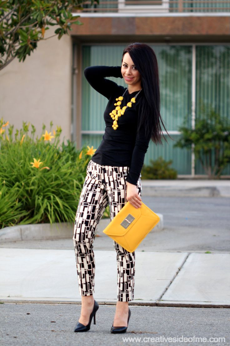 Black, White and Yellow Outfit. I have a similar patterned skirt and I have that necklace!