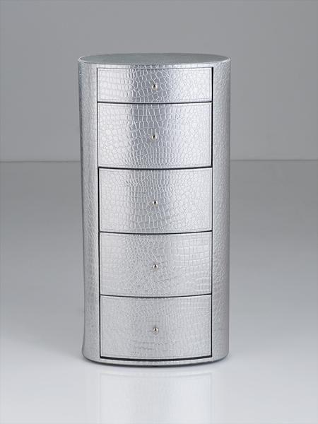Brandani - Cassettiera ovale 5 cassetti cocco argento skin