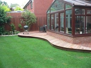 Ipe hardwood curved ground level deck, location Finchampstead Berkshire