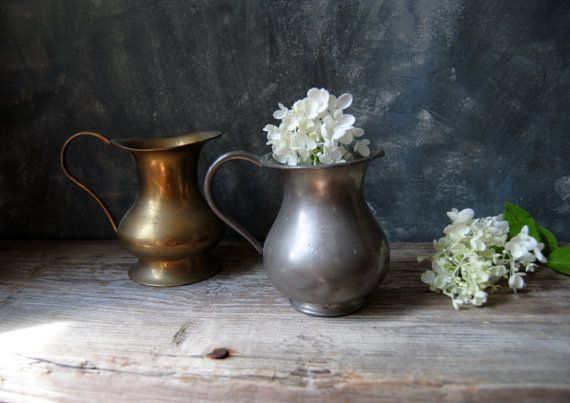 Pair of Rustic Modern Pitchers – Pewter and Brass Pitcher Set