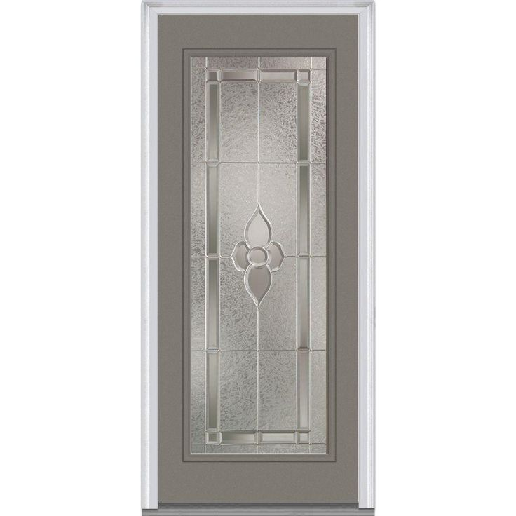 Milliken Millwork 37.5 in. x 81.75 in. Master Nouveau Decorative Glass Full Lite Painted Majestic Steel Exterior Door, Dovetail