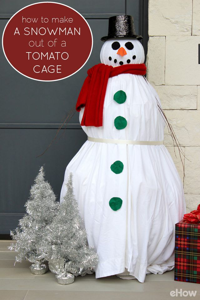 how to make a snowman out of a tomato cage front yards tomato cages and paper. Black Bedroom Furniture Sets. Home Design Ideas