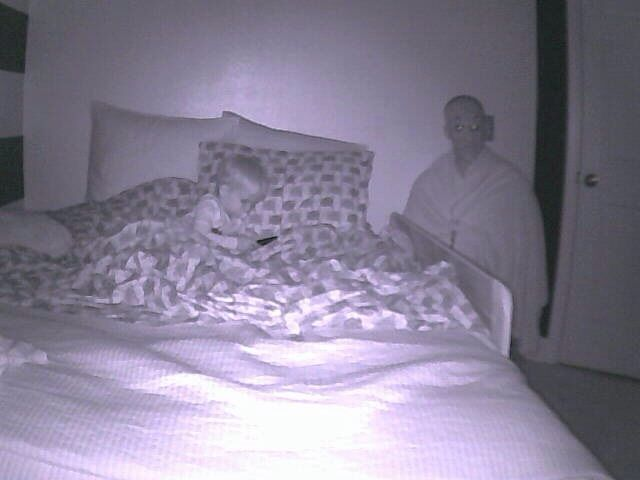 I got bored and turned on the motion detection on our nanny cam and set it email my wife while shes at work tonight. Then I dressed up in an old Halloween mask and set my plan into motion. My ear is still bleeding from her phone call. But yet I cant wai