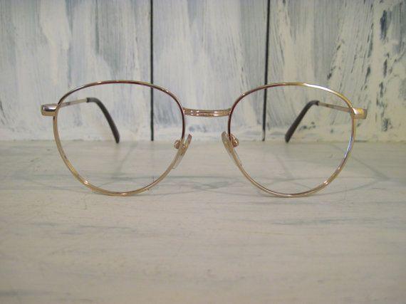 Vintage golden color metal eyeglasses frames for women, womens eyeglass frame, eyewear eyeglasses frame, retro eyewear, retro eye glasses by HTArtcraftAndVintage, $29.99