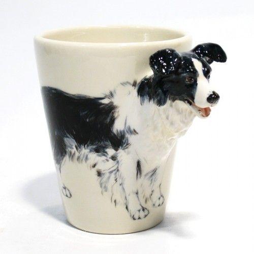 Border Collie Black & White Dog Lover Ceramic Mug Cup Handmade 0006