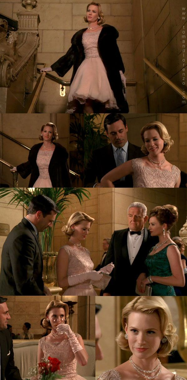 Mad Style: Betty Draper, S2 Part 1 | Betty Draper rocks Grace Kelly style in gorgeous lace pink dress
