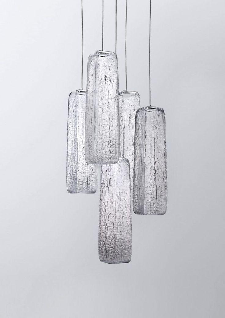 Kengo Kuma burns woods to create crackled glass lighting for Lasvit
