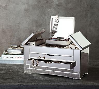 Ultimate Extra-Large Mirrored Jewelry Box #potterybarn