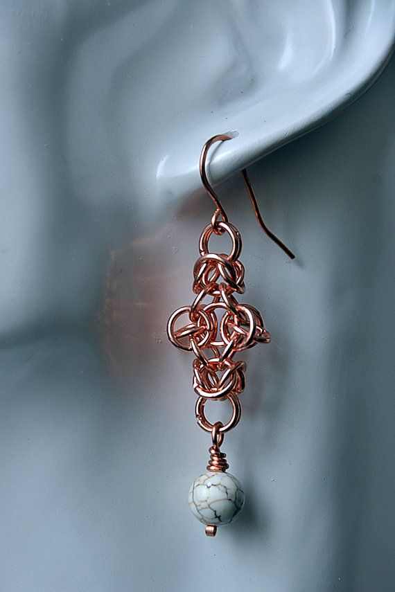 Copper Chain Maille/White Howlite Stone Earrings