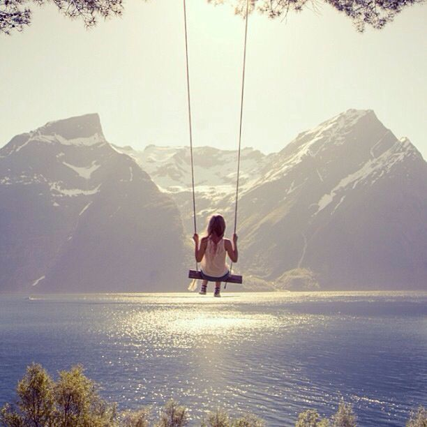Hjørundfjord, Norway. Possibly the best swing ever.
