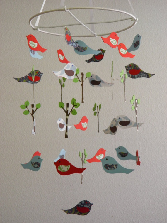 Love Birds Baby Paper Mobile by whimsicalaccents