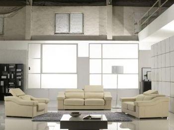 Contemporary Sofa Set In Cream Leather Part 97