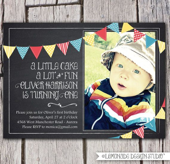 Chalkboard Invitation - Chalkboard Birthday Invite - First Birthday Invite or Any Age & Any Text - Bunting - Photo Inivitation Printable on Etsy, $17.00