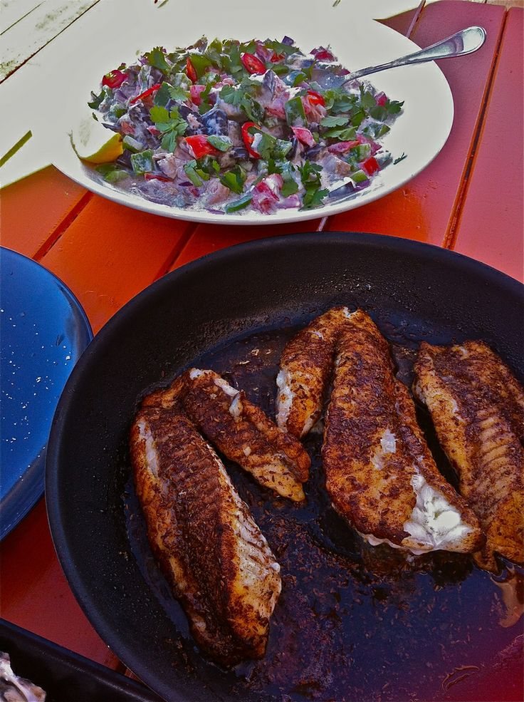 Cumin rubbed fish with eggplant salsa.