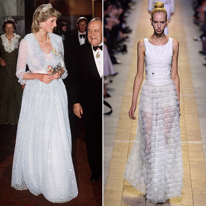 Sheer Romance Then: Dubbed Shy Di in the early days, she favoured feminine frills – and in this romantic tulle gown by David and Elizabeth Emanuel, worn in 1983, she was the perfect People's Princess. Now: In a daring take on the traditional tulle ball gown, Dior adds a translucent skirt and a cream satin bustier.