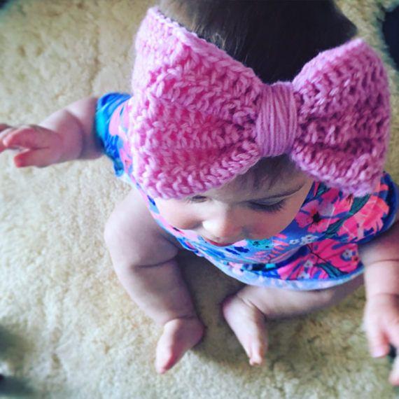 Crochet baby girl big bow headband