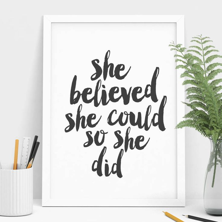 'she believed she could' typography print by the motivated type | notonthehighstreet.com