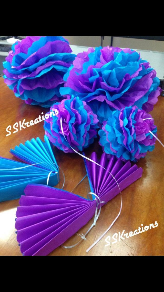 Turquoise and purple shower Pom poms