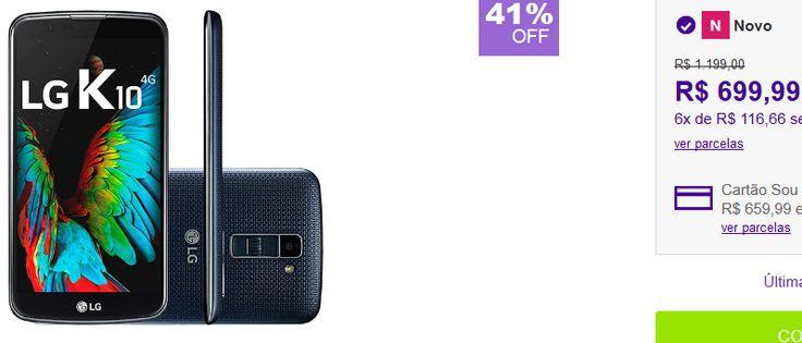 """Smartphone LG K10 Dual Chip Android 6 Tela 5.3"""" 16GB 4G Câmera 13MP << R$ 69999 em 6 vezes >>"""