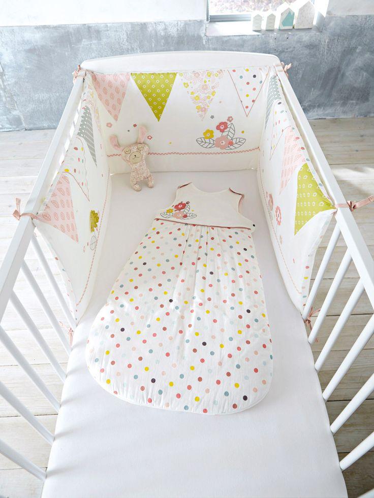 Silhouette Tour de lit bébé imprimé thème pastels d'hiver + Gigoteuse évolutive sans manches Pastels d'hiver motifs fleu + Drap-housse bébé uni blanc : lot de 2 -