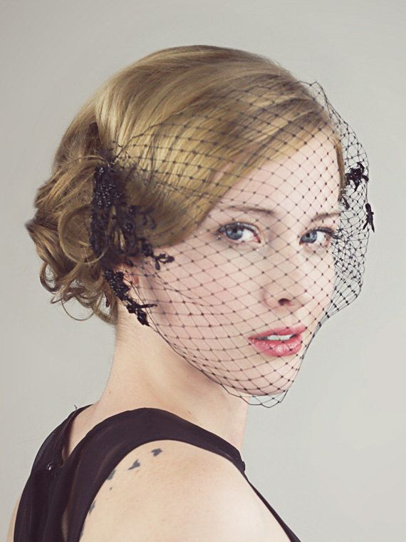 Black Birdcage Veil With Beaded Lace by BaroqueAndRoll on Etsy, $128.00