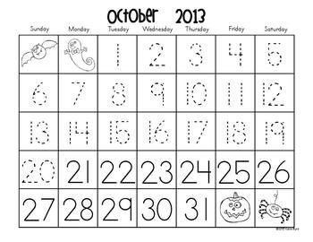 Calendars for Number Writing: complete set of 2013-2014 calendars for number writing and pattern practice.  Differentiated with three versions for every month!  Also includes ideas for seasonal art projects too.  What a time saver! $