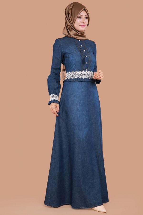 ** SONBAHAR / KIŞ ** Beli Fırfırlı Dantel Detay Kot Elbise Koyu Kot Ürün Kodu: MSW9181 --> 89.90 TL