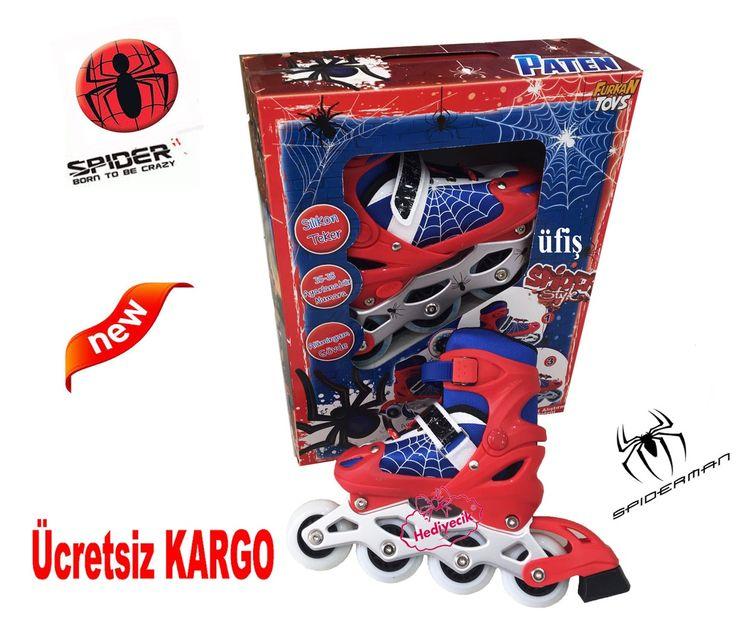 Spider -Man Ayarlanabilir Paten Silikon Teker Alıştırma Ayakkabı Paten 35 -38