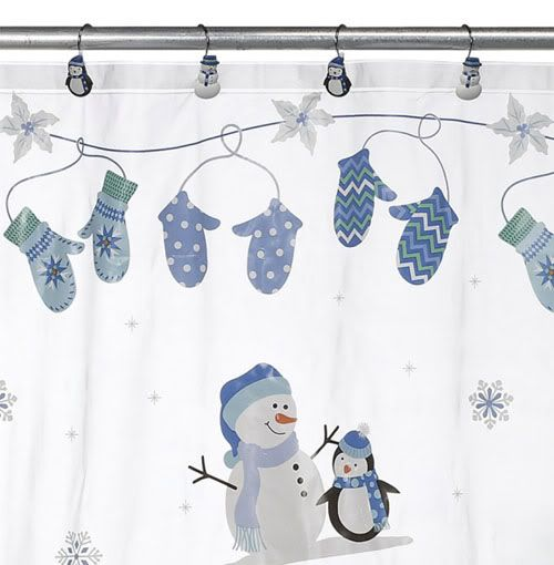 Snowman Penguin Christmas Vinyl Shower Curtain U0026 Hook Set Snow Oh What Fun  NEW