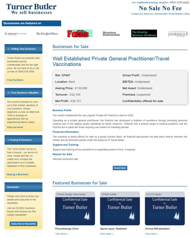 Are you searching to buy general practitioner businesses for sale from turner butler  Operating as a private general practitioner, the Practice has developed a tradition of excellence through providing personal medical care to the highest quality standards for family medicine.  #turnerbutler #businessesforsale #buyingabusiness #UKbusinesstransferagents #vaccination #practitioner #wesellbusiness #sellingyourbusiness #freebusinessvaluation