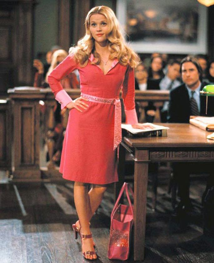 "Reese Witherspoon in ""Legally Blonde"" - She had tried the typical East Coast lawyer garb. But for Elle Woods's first big case, only an outfit that was truly ""her"" would do."