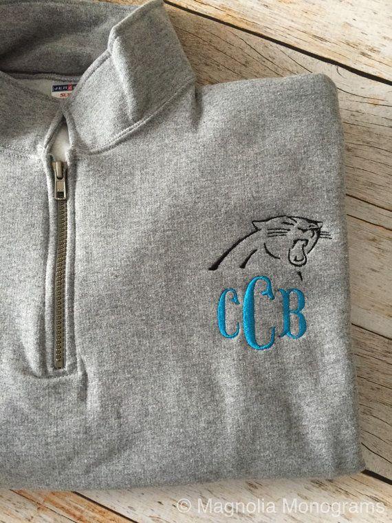 Carolina Panthers Monogrammed Quarter-zip by MagnoliaMonogramsNC