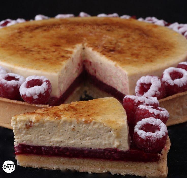 tarte framboise insert crème brûlée vanille