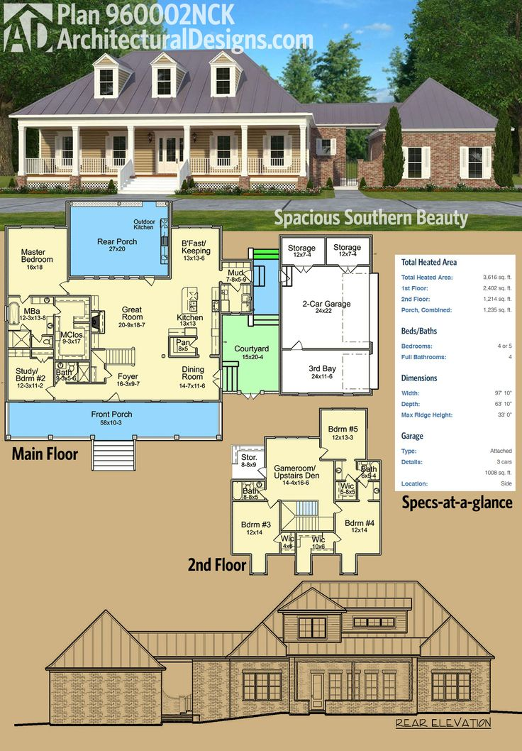 Architectural Designs Country House Plan 960002NCK Has A Broad Front Porch  And A Deep One In