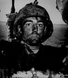 A U.S. Marine exhibits the thousand-yard stare after two days of constant fighting in the Battle of Eniwetok