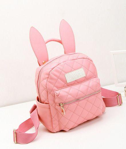 Mochila color rosa con orejas de conejo